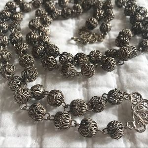 Vtg Silver Wire Bead Double Strand Necklace